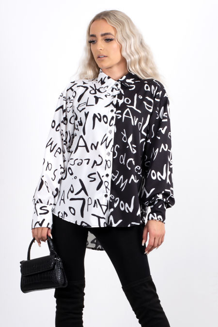 Monochrome Printed Spliced Colourblock Shirt