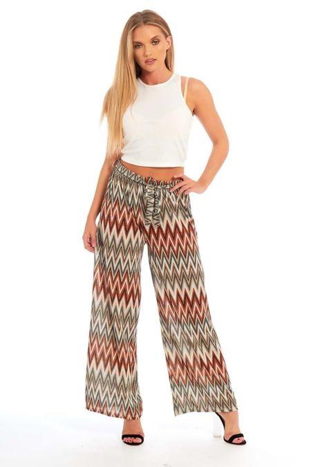 Multi-Color Zig-Zag Pattern Wide Leg Trouser