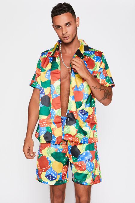 Multi Printed Shirt And Shorts Set