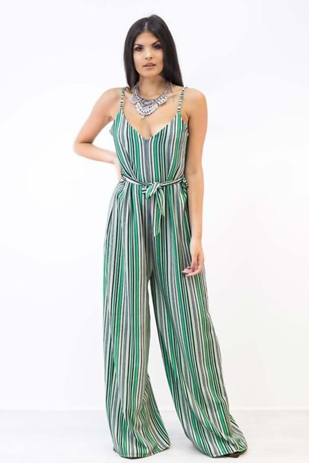 Multi-Stripe Belt Detail Jumpsuit