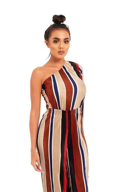 Multicolour Pleated Asymmetric Top And Trouser Set