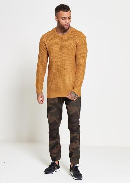 Mustard Chain Fine Knitted Jumper