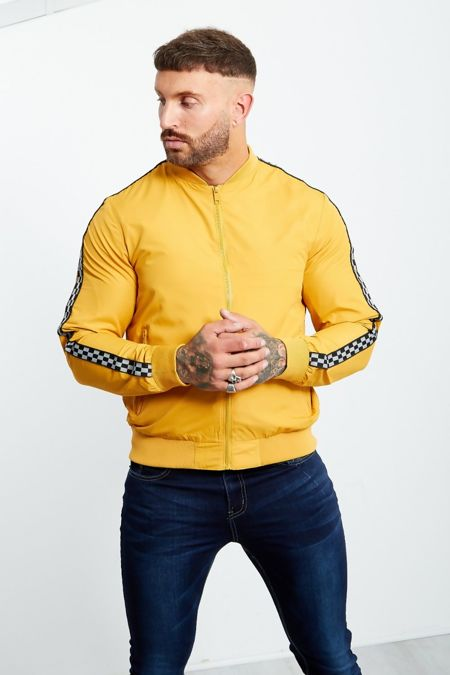 Mustard Chequerboard Sleeve Tape Detail Bomber Jacket