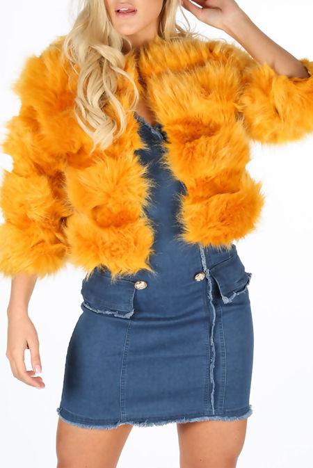 Mustard Faux Fur Cropped Jacket