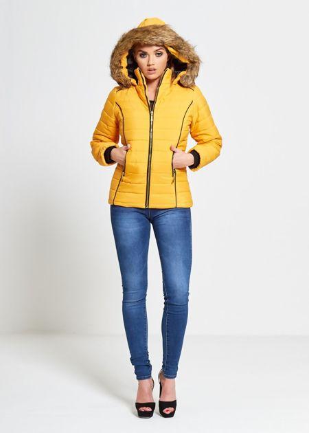 Mustard Faux Fur Lined Hood Puffa Coat