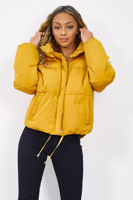 Mustard Funnel Padded Puffer Jacket
