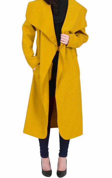 Mustard Long Waterfall Duster Coat