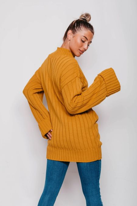 Mustard Oversized Rib Knit Jumper Dress