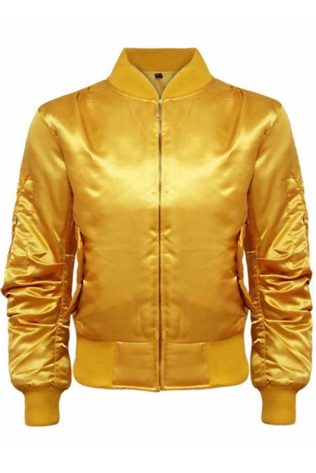 Mustard Satin MA1 Bomber Jacket