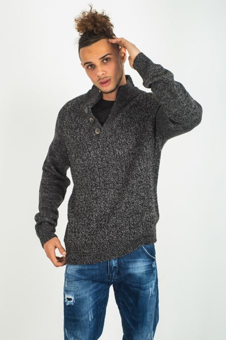 Men's Black V Neck Button Pullover Jumper