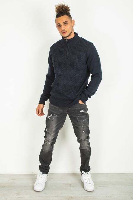 Mens Cable Knit Half Zip Jumper