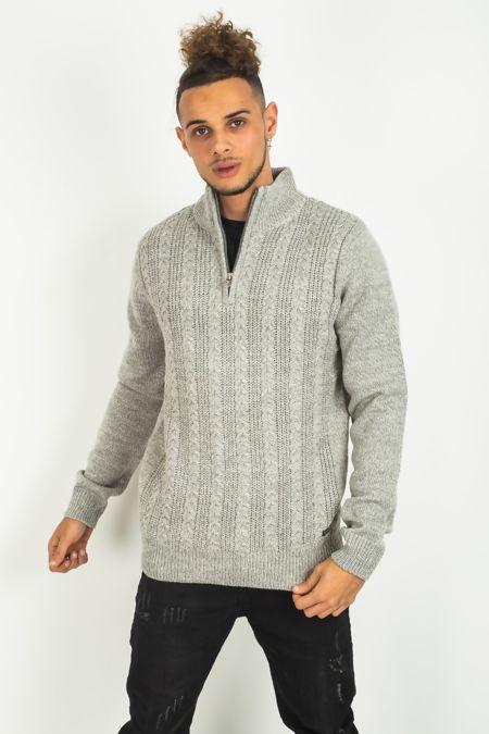 Mens Grey Cable Knit Half Zip Jumper
