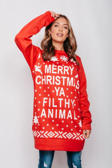 Red Plus Size Merry Christmas Ya Filthy Animal Sweat Dress Pre Order