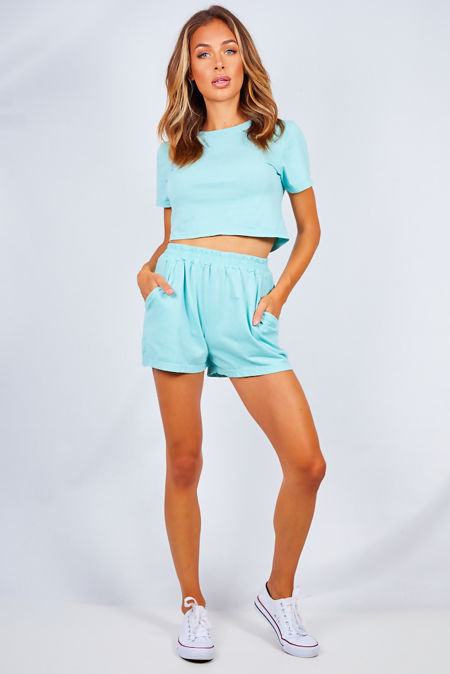 Mint Basic Shorts And Crop Top Lounge Set