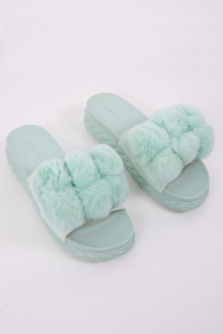 Mint Green Pom Pom Flatform Sandals