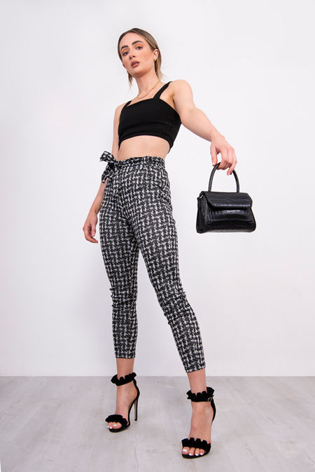 Monochrome Dogtooth Paperbag Trousers