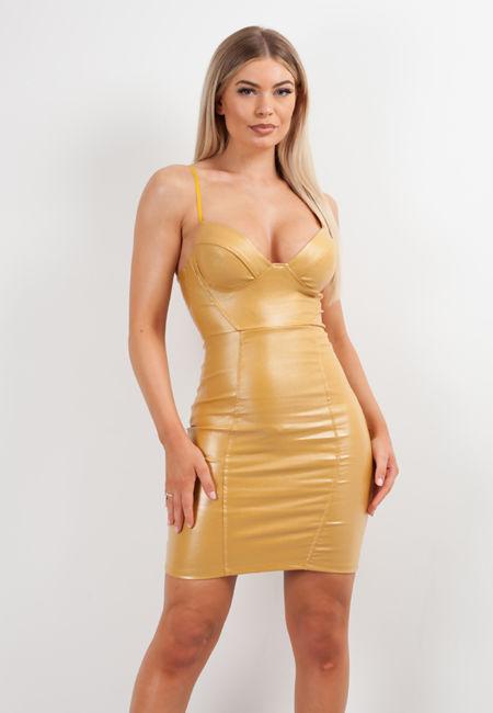 Mustard Glitter Bralet Leather Bodycon Dress