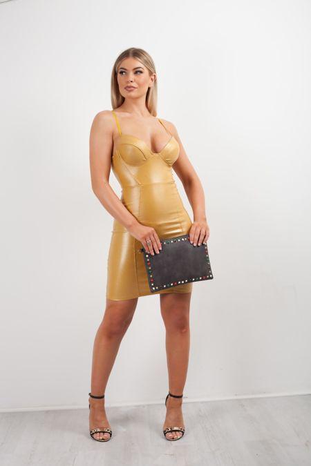 Black Glitter Bralet Leather Bodycon Dress