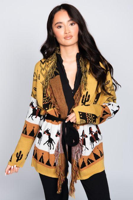 Mustard Printed Fringe Belted Knitted Cardigan