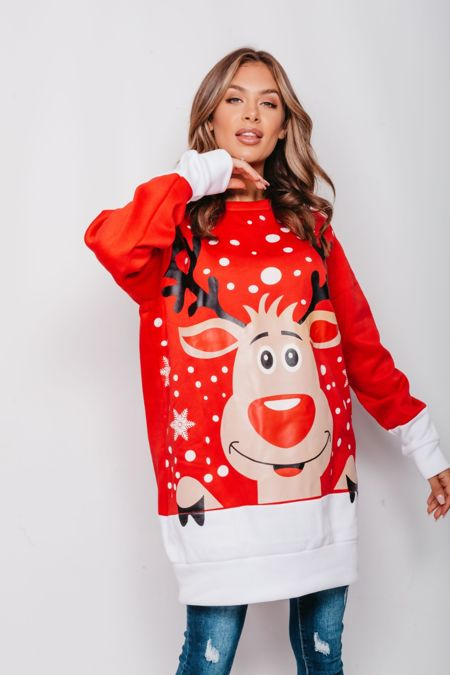 Plus Size Red Naughty Rudolph Christmas Jumper Dress Pre-Order