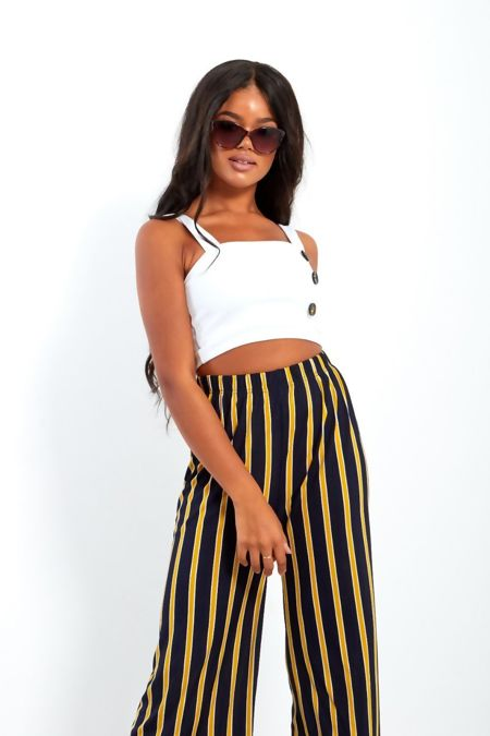 Navy And Yellow Wide Leg Cropped Trousers