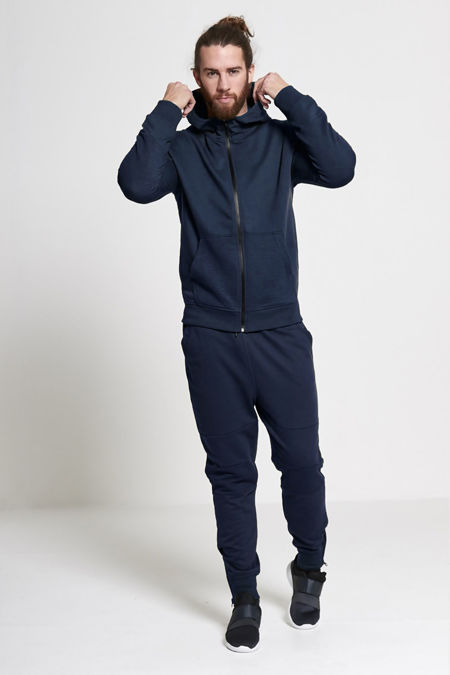 Navy Biker Ribbed Detail Hooded Skinny Tracksuit