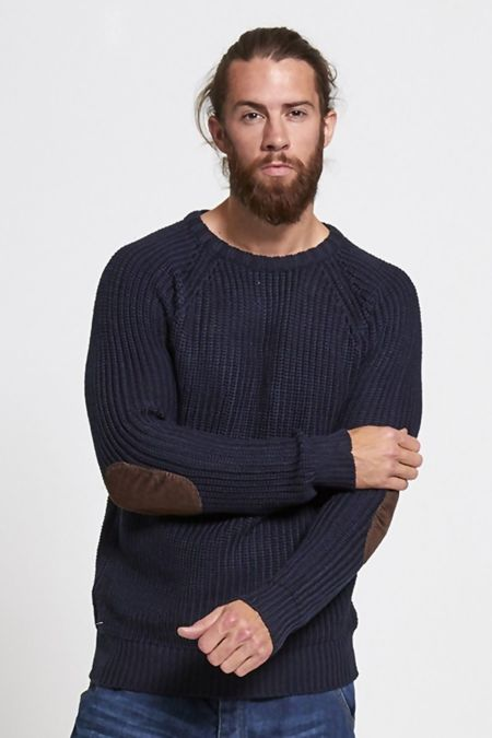 Navy Cable Knit Patchwork Jumper