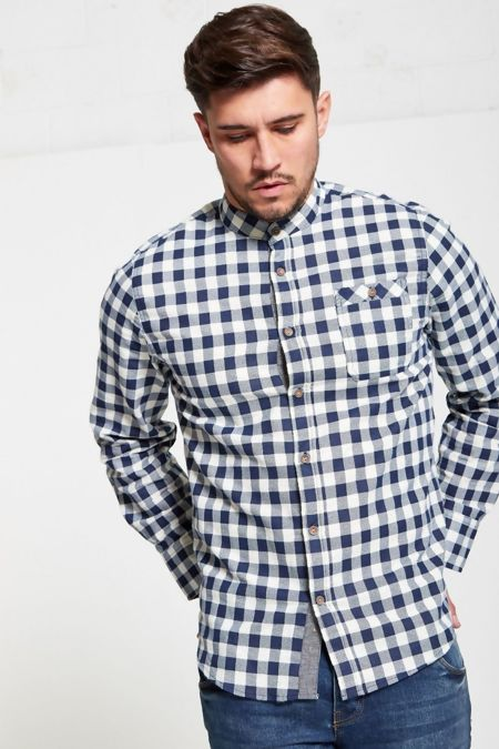 Navy Check Mandarin Collar Shirt