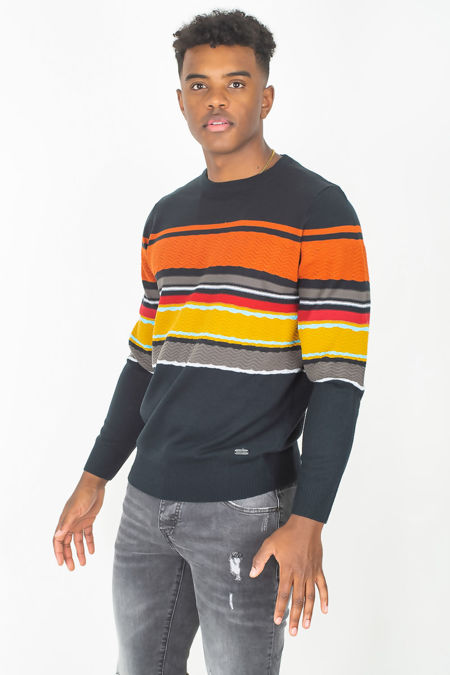Navy Colourblock Rib Trim Jumper