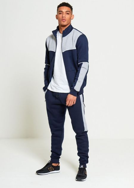 Navy Contrasting Panel Zip Through Hooded Tracksuit