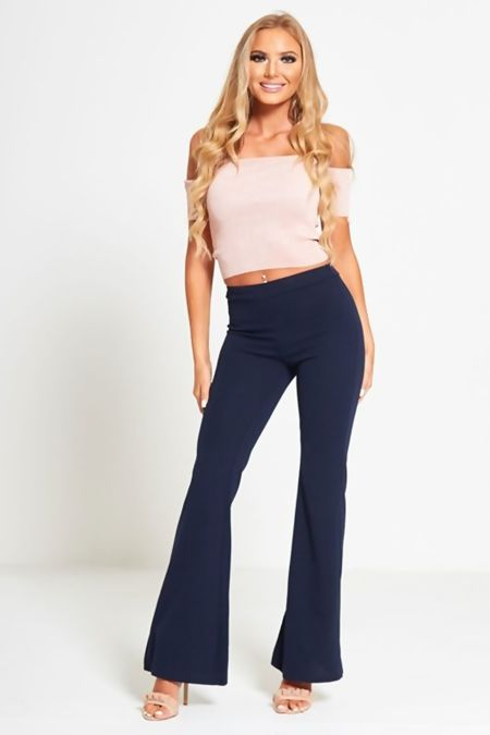 Navy Flared Leg Trousers