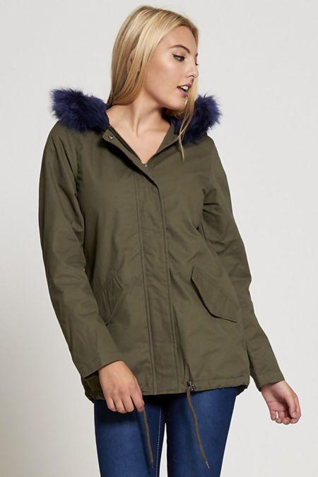 Navy Fur Hood Brave Soul Parka Jacket