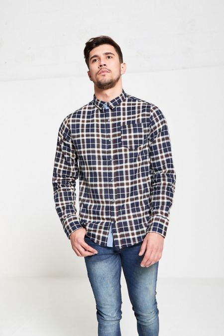 Navy Ging Checked Shirt