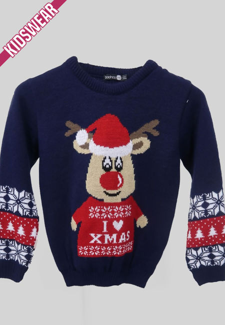 Navy Kids I Love XMAS Reindeer Christmas Jumper