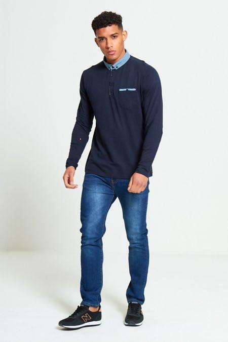 Navy Long Sleeve Welt Polo T-Shirt