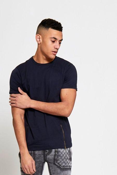 Navy Longline Zipper T-Shirt