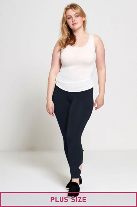 Navy Plus Size Laser Cut Leggings