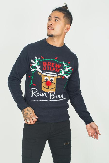 Navy Rein Beer Christmas jumper