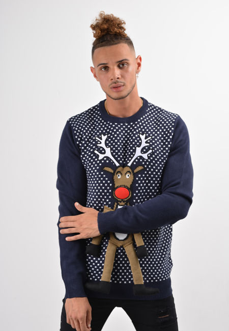 Navy Reindeer With Legs Chirstmas Jumper