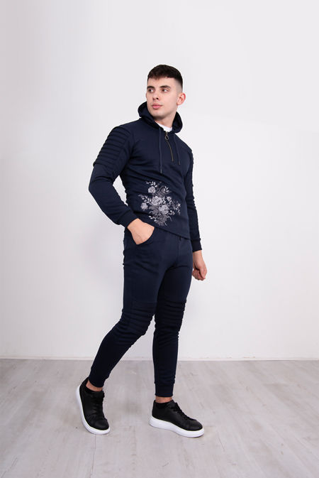 Navy Ribbed Floral Embroidered Pullover Tracksuit