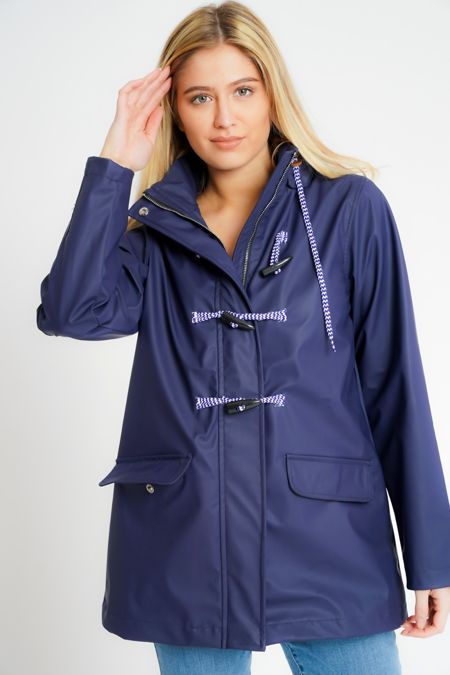 Navy Rubberised Rain Mac With Toggles