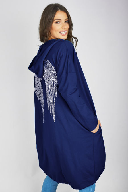 Navy Sequin Angel Wing Hooded Cardigan