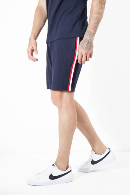 Navy Stripe Detail Jersey Shorts