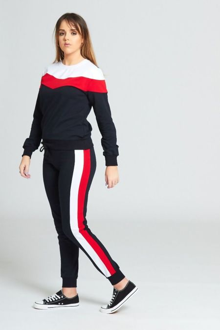 Navy Striped Detail Tracksuit