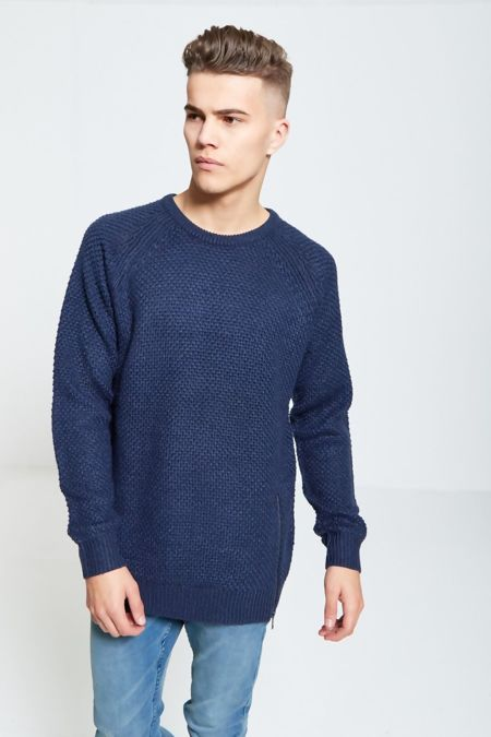 Navy Twist Zipper Jumper