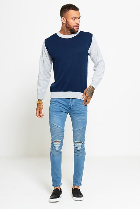 Navy Two Tone Jumper