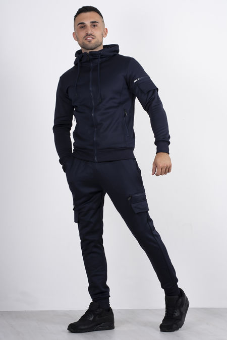 Navy Utility Hooded Tracksuit With Zip Detail