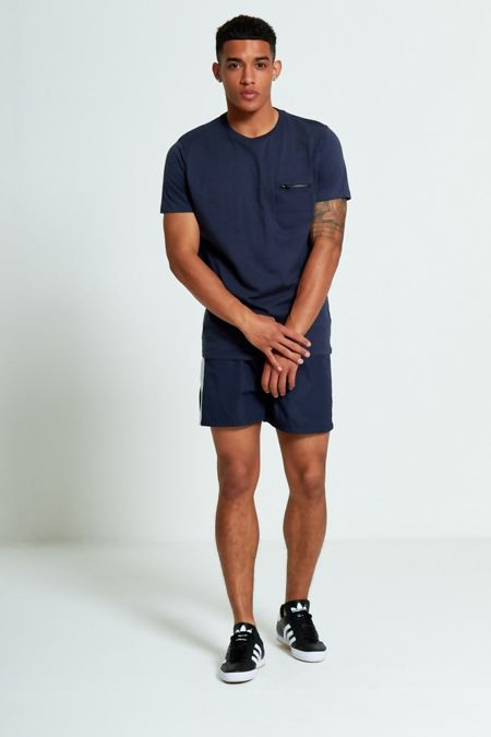 Navy Zip Detail Chest Pocket T-Shirt
