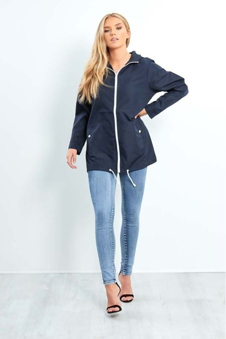 Navy Zip Through Cagoule Raincoat