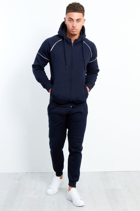 Navy Zip Through Hooded Tracksuit